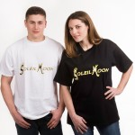 Unisex T-shirt with band title in yellow lettering, available in black or white